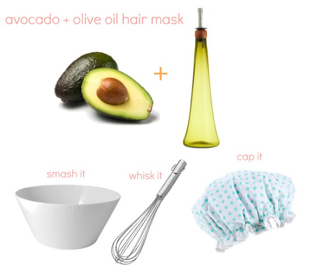 Olive oil and avocado hair mask