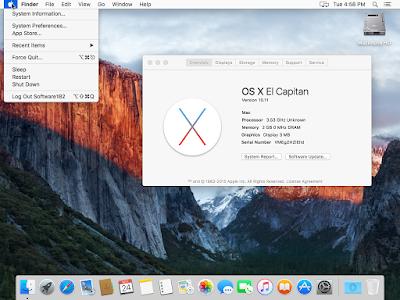 Tampilan Desktop OS X El Capitan