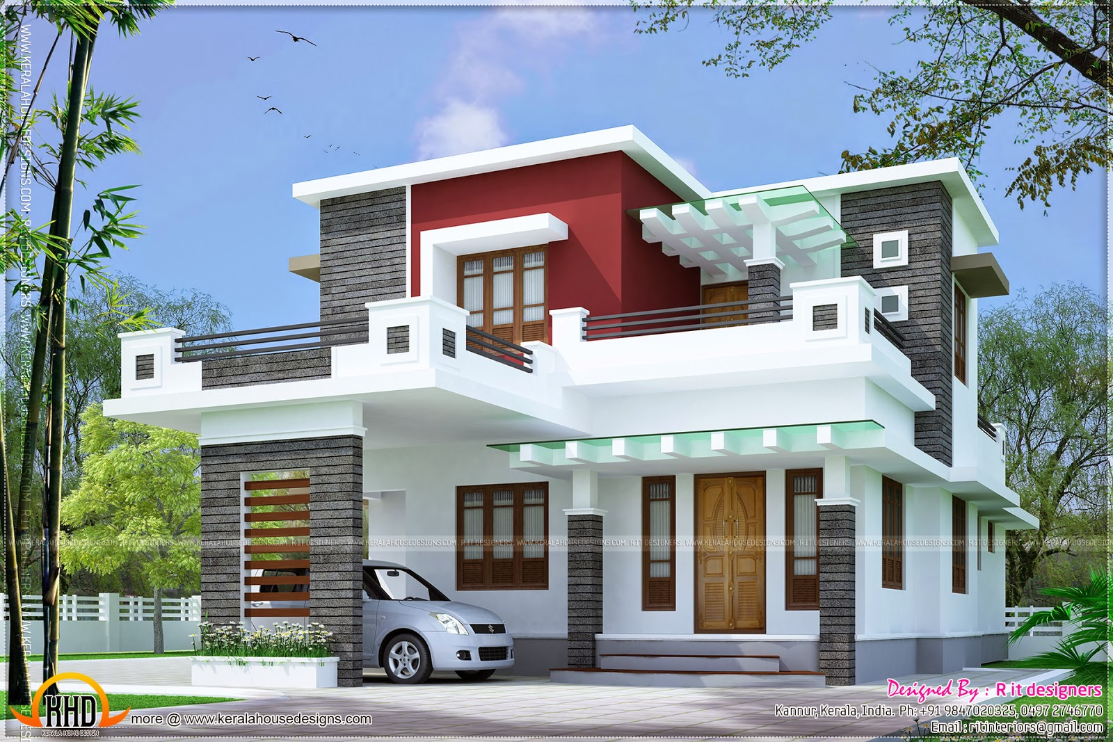 1959 square feet contemporary house exterior kerala home for Normal home front design
