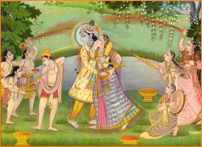 Radhe Krishna on bank of Yamuna playing Holi with other Gopis