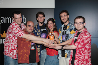 "Receiving Best Game Design Award"" for Nihilumbra at Gamelab 2013 (Barcelona)"