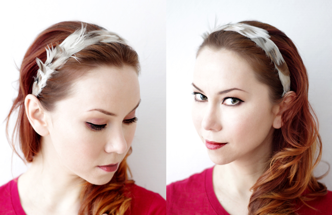 DIY Feather Headband. Designed and photographed by Xenia Kuhn for fashionrolla.com