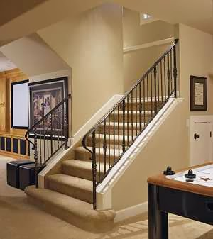 good looking and safe basement stairs design