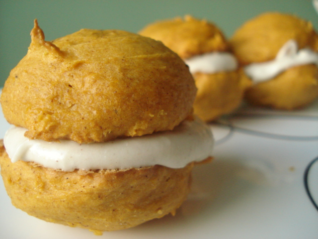 Pumpkin Whoopie Pies Made With Cake Mix