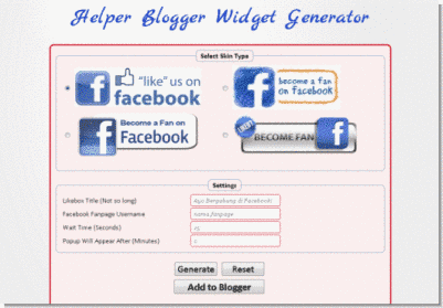 helper blogger facebook like