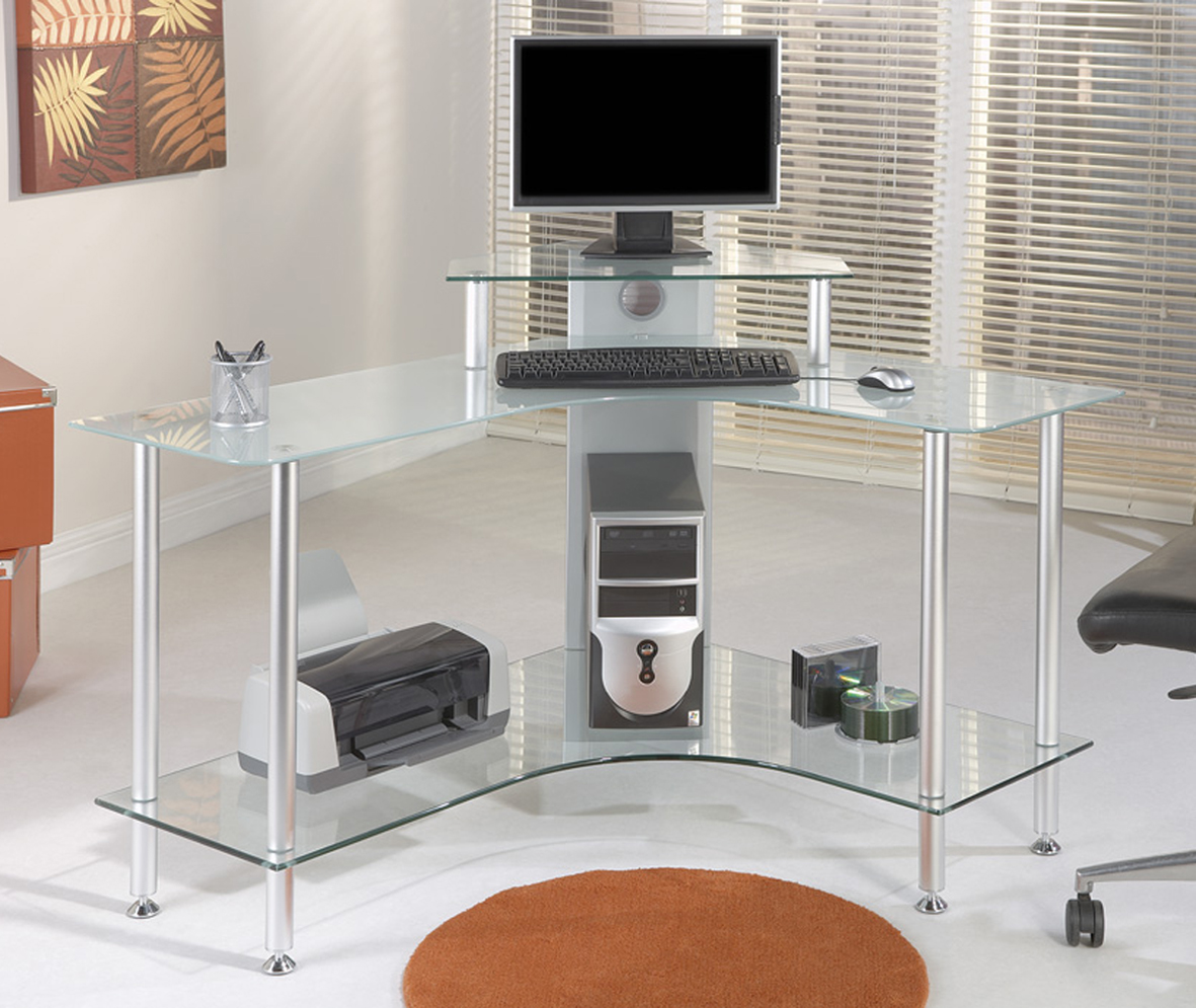 Interior Design Tips Very Smart 3 X Black Glass Corner Desks Alaska Glass Corner Computer Desk