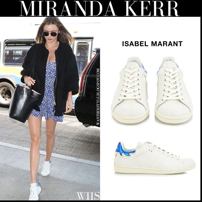 Miranda Kerr in white leather Isabel Marant Bart sneakers, blue print mini dress and bucket bag Gavriel Mansur what she wore june 30 streetstyle