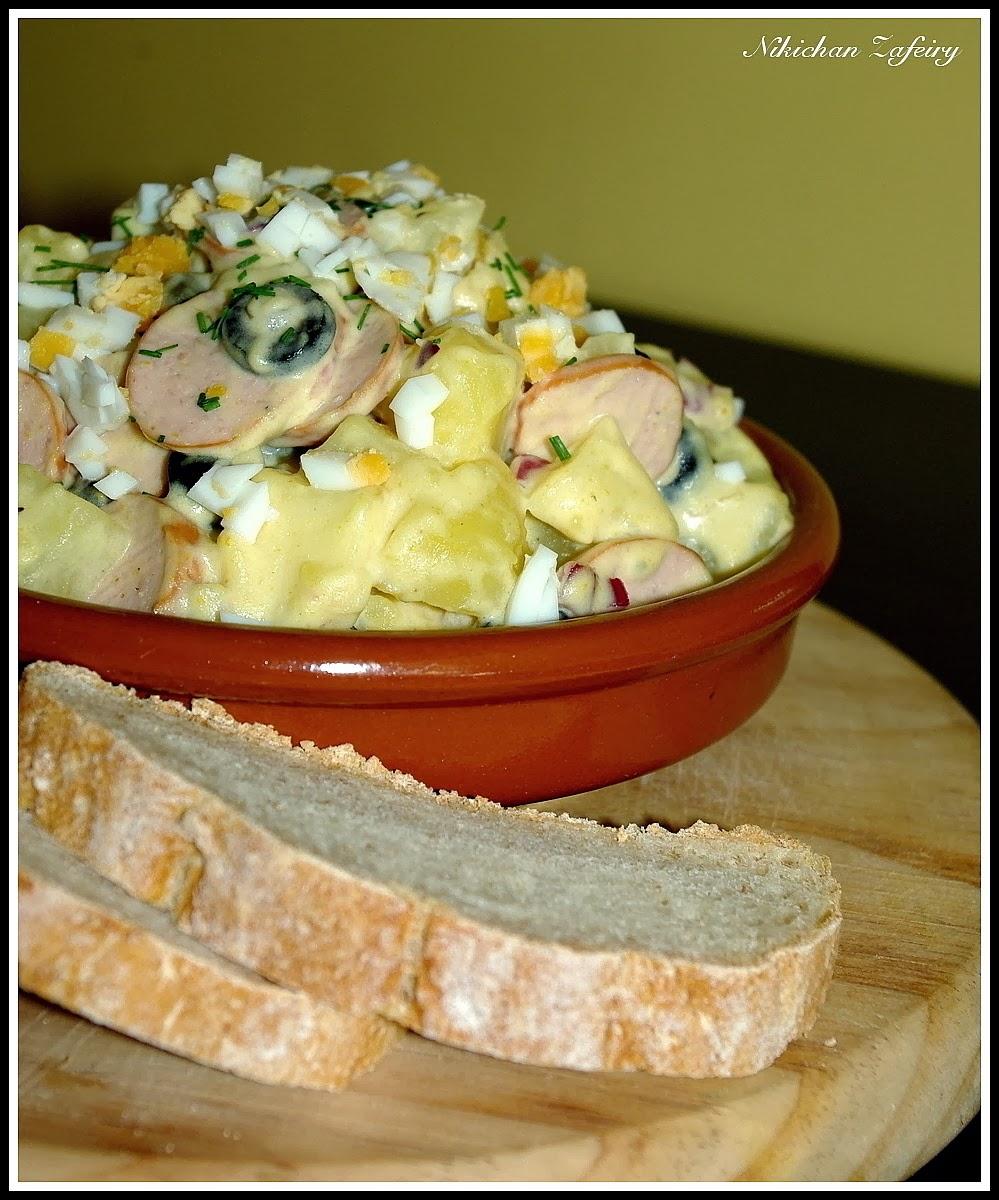 Ensalada alemana de patatas y salchichas recetas de una - Ensalada alemana de patatas ...