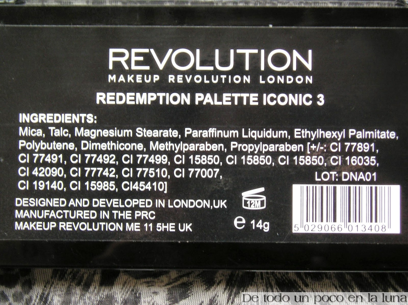ingredientes paleta iconic 3 makeup revolution