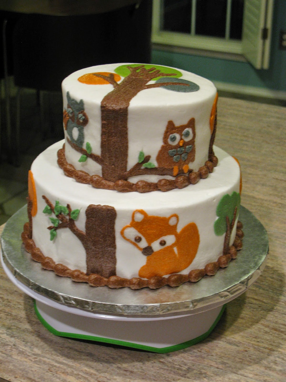 A Counselors Confections Forest Themed Baby Shower Cake