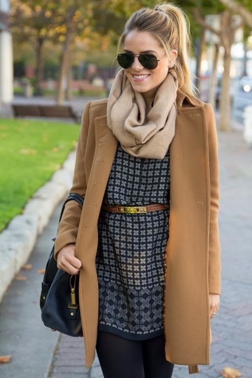 Light brown scarf, trench coat, blouse and skinnies for fall