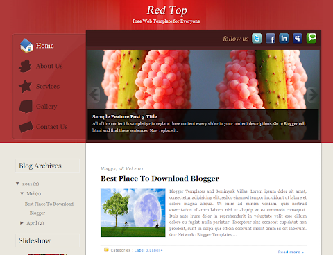 Red Top Blogger Theme