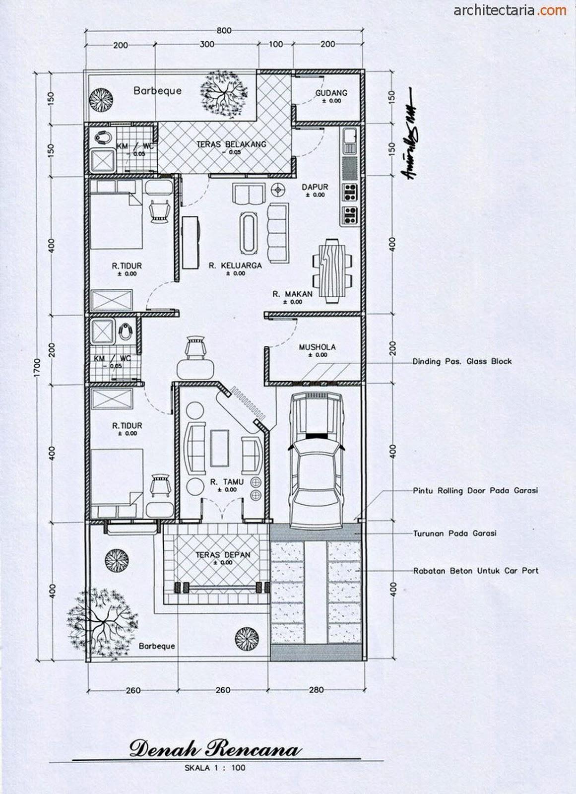 10 Gambar Contoh Denah Rumah Minimalis Modern  Desain Rumah Minimalis