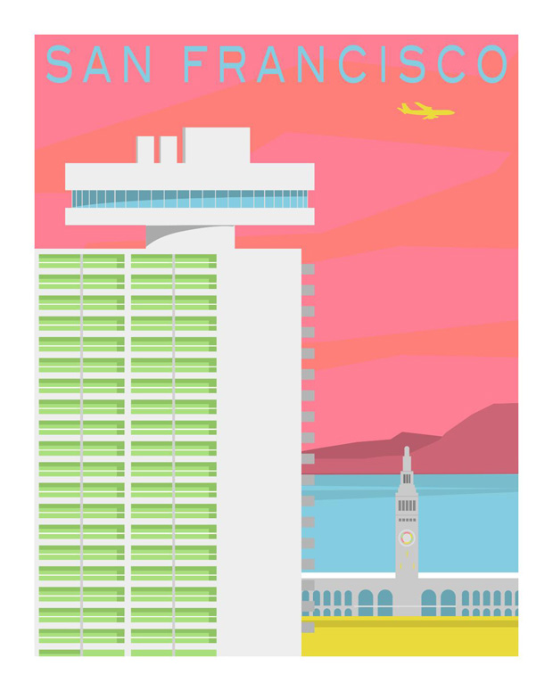 forgotten modernism, michael murphy,san francisco,illustration,ilustraciones, US, united States, Estados Unidos,pink,green,blue, pastel colors, rosa,verde,azul,mar,sea,building, air plane,avion,edificio,arquitectura