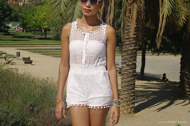 white lace pom pom playsuit