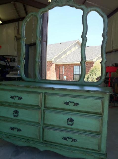 aqua painted dresser
