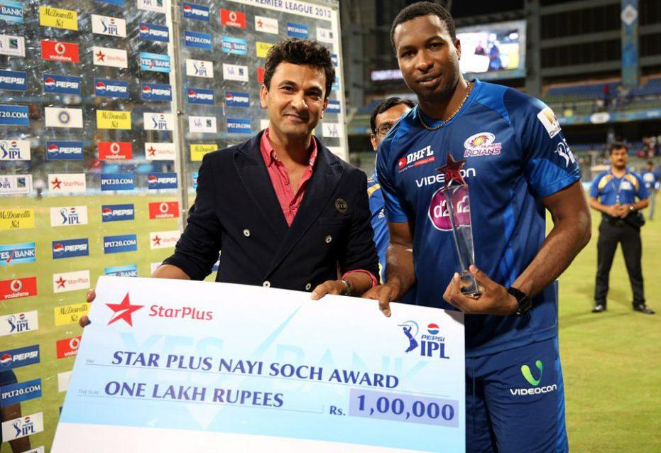 Kieron-Pollard-Star-Plus-Naye-Soch-award-MI-vs-KXIP-IPL-2013
