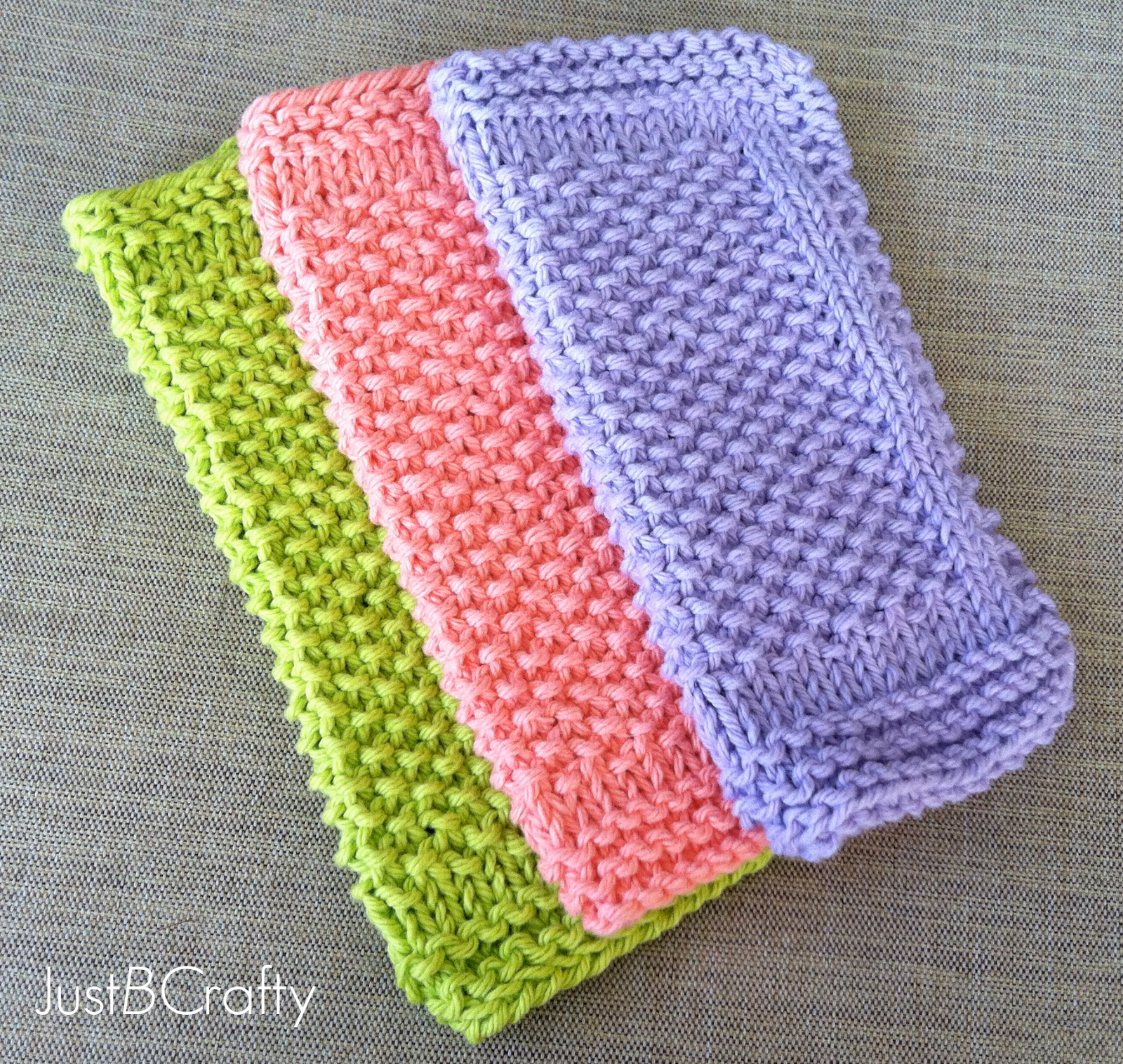 Beginners Knitting Patterns : Seed Stitch Dishcloths - Just Be Crafty