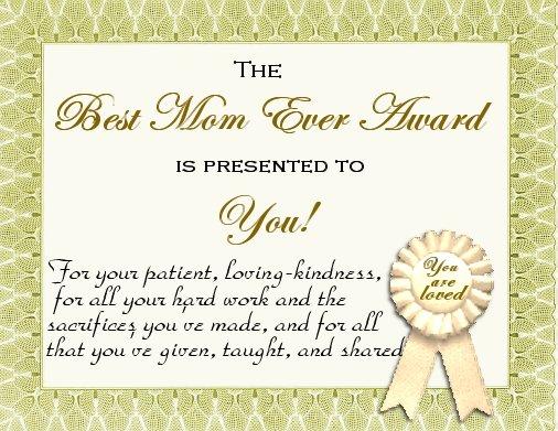 parent certificate of appreciation