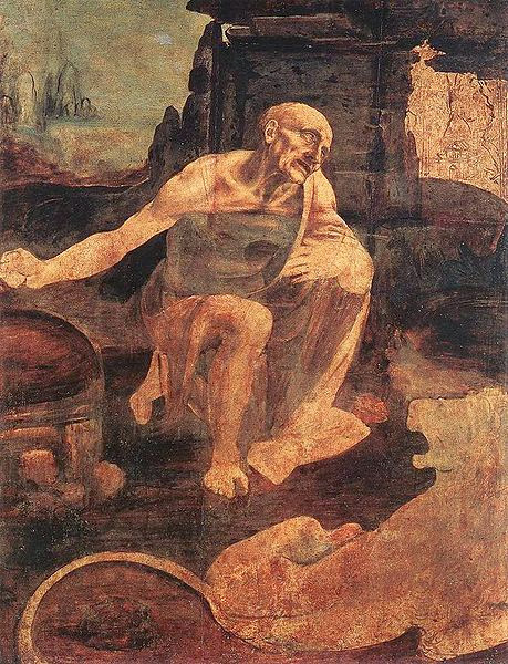 "Painting ""St. Jerome in the Wilderness"" Unfinished by Leonardo da Vinci, 1480"