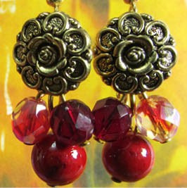 Vintage style gold flower button earrings with red czech beads and river stones