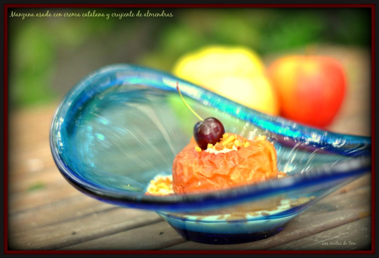 Manzana asada con crema catalana y crujiente de almendras 06