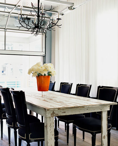 Black White Dining Room Table with Chairs