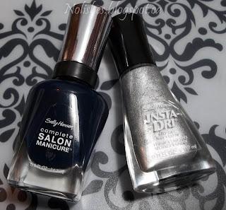 Sally Hansen Polishes: Complete Salon Manicure 'Dark Huemoor', and Insta-Dri 'Silver Sweep'