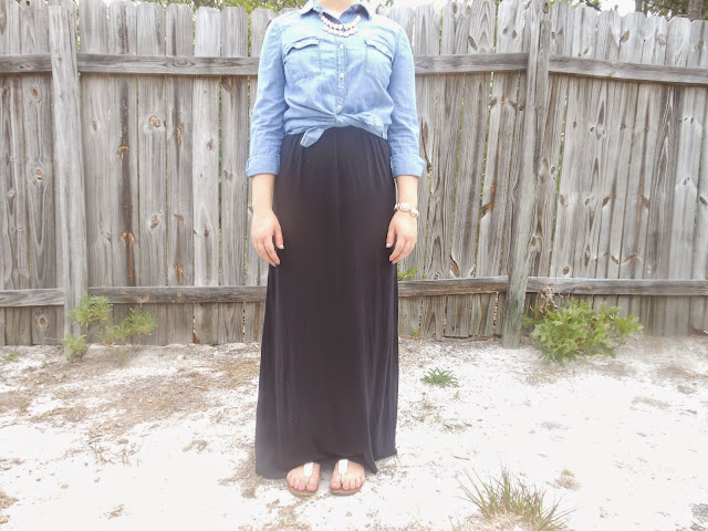 How I Style It: Maxi Dress. Black maxi dress, chambray shirt, pink statement necklace, white sandals. #maxedoutmaxi #BowsandClothes #chambray