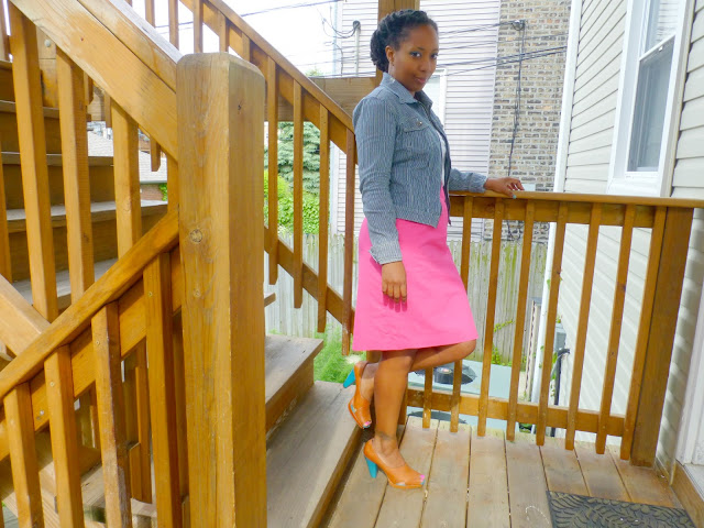 thrifted pink pencil skirt