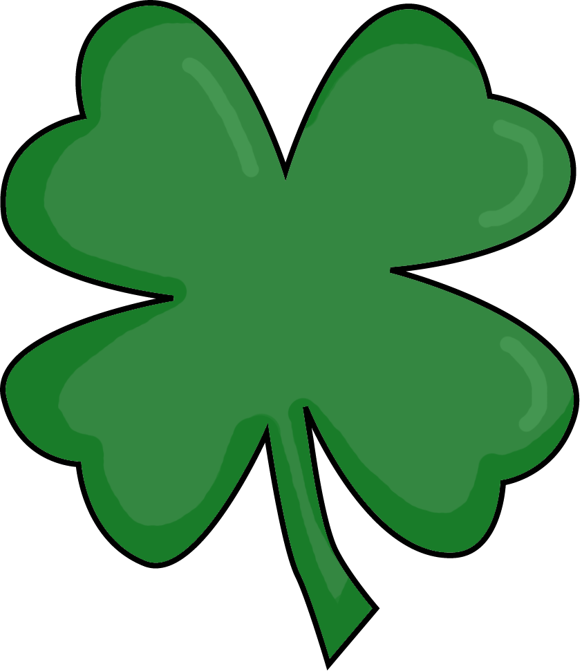 4 clovers and leprechaun clipart for school