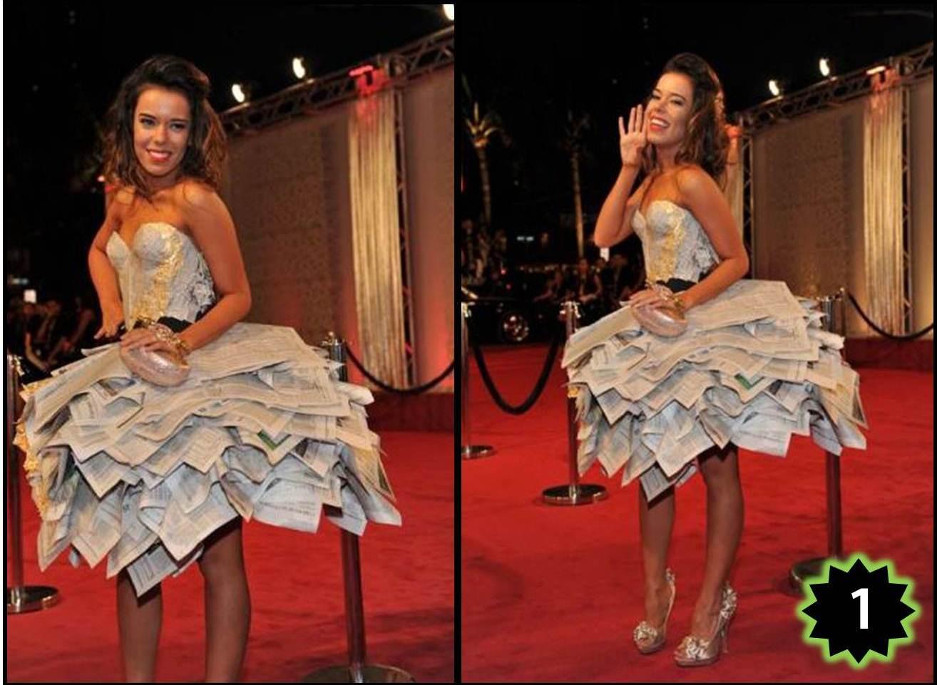 un vestido hecho de papel de periódico. Foto: GettyImages/Univisión
