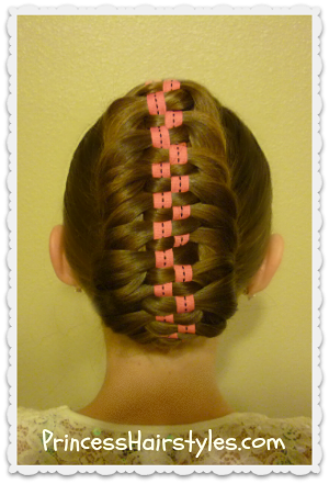 Checkerboard Ribbon Fishtail Braid Updo Hairstyle