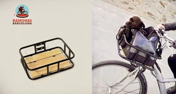 Complemento de carga para bicicleta urbana. Portaequipajes flat wood.