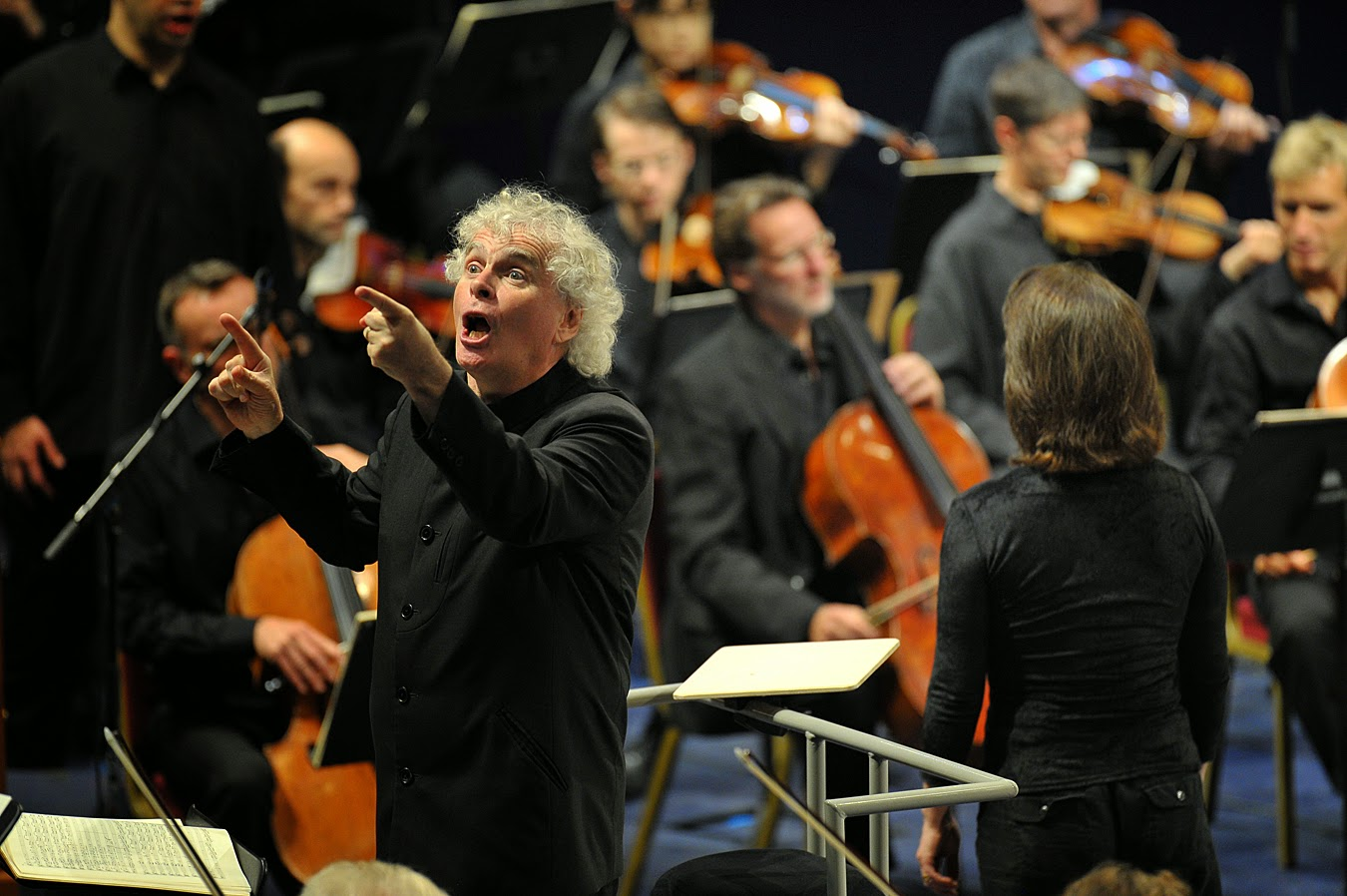 Simon Rattle and the Berlin Philharmonic Orchestra in Bach's St Matthew Passion at the BBC Proms - photo credit BBC / Chris Christodoulou