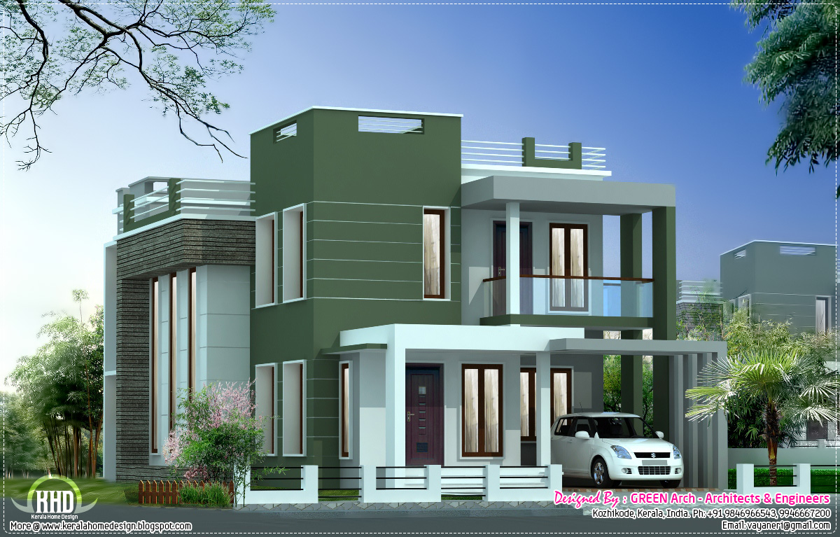 Modern villa elevation sq ft houses plans designs for Kerala style villa plans