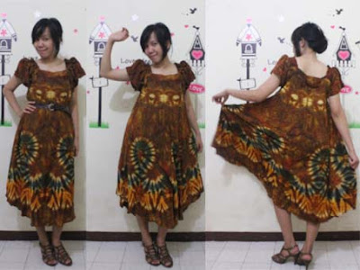 batik pekalongan dress klok coklat