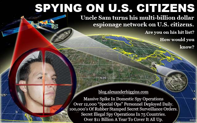 """government spying on citizens Numerous government agencies—including the national security agency, the federal bureau of investigation, the department of homeland security, and state and local law enforcement agencies—intrude upon the private communications of innocent citizens, amass vast databases of who we call and when, and catalog """"suspicious activities"""" based."""
