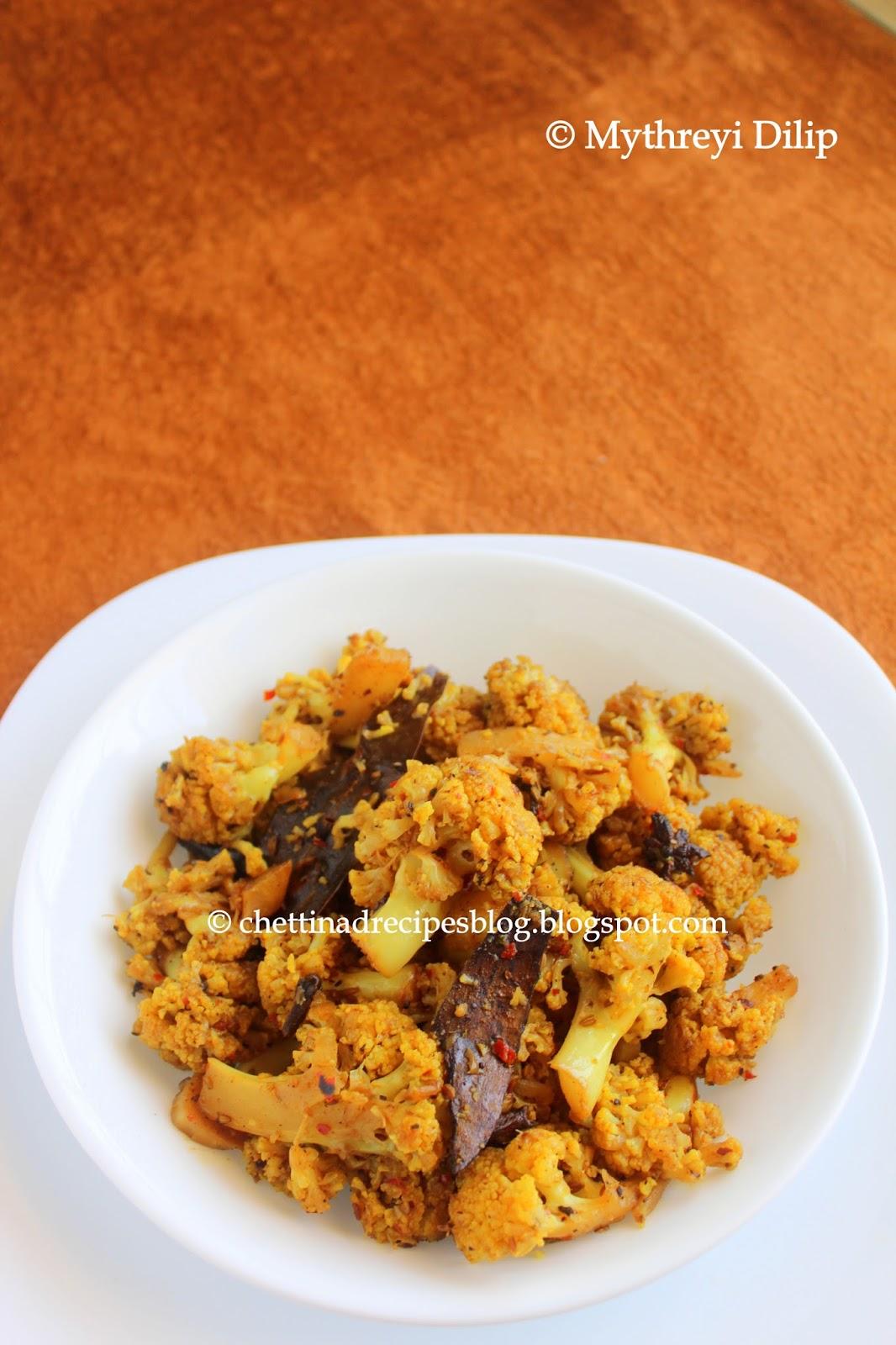 Cauliflower Milagu Peratu / Cauliflower Pepper Fry - Chettinad Recipes