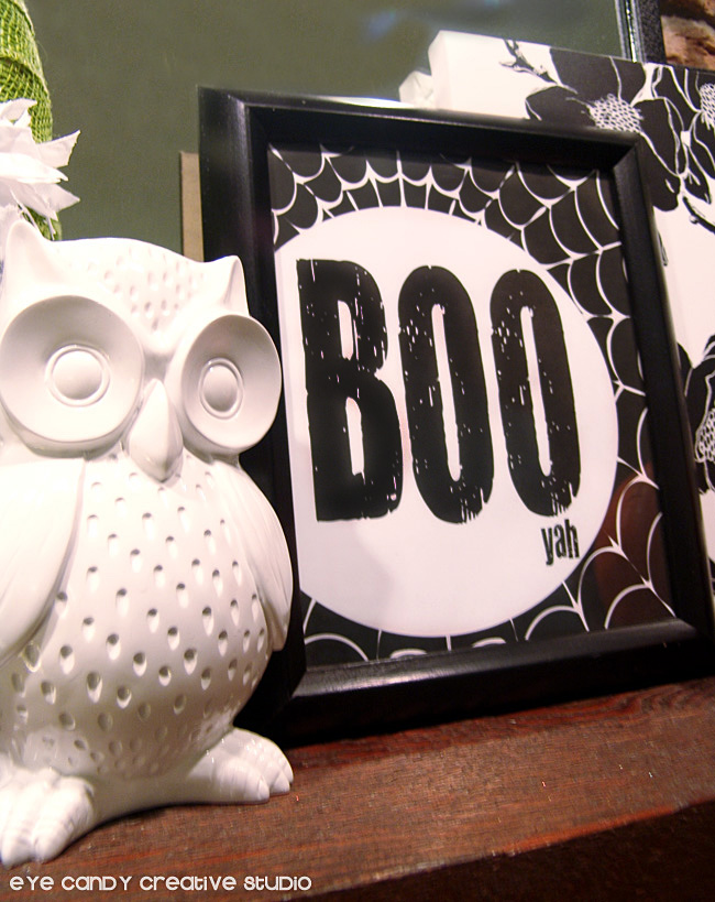 black and white halloween, owl, boo art print, spider web design