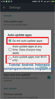 matikan automatis update playstore
