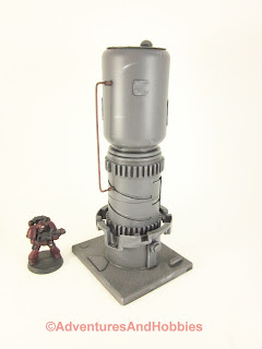 Tall vertical processing tower for 25-28mm scale wargames - side view 2.