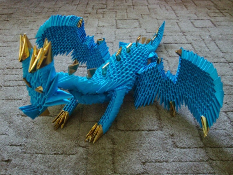 make 3d origami blue dragon