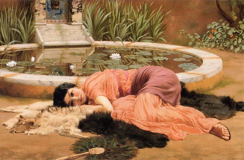 A painting of a young woman lounging idly by a fountain