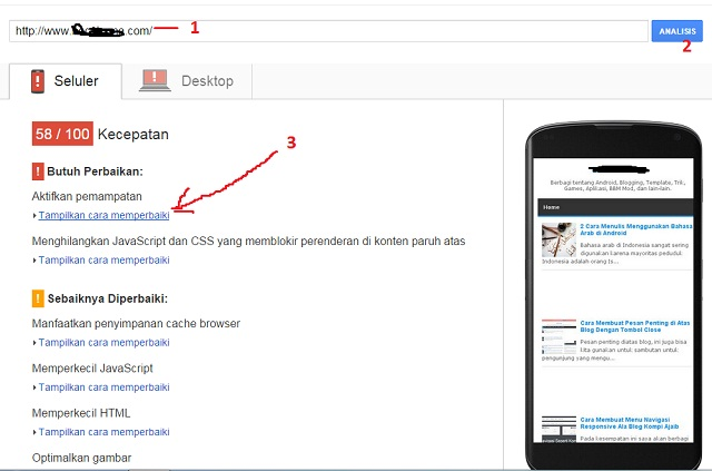Merignankan tampilan blog melalui mobile seluler dan desktop