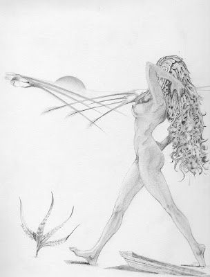 Dolobo Drawing, Figurative drawing, fantasy art, graphite