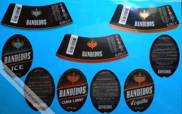 Beer labels: Bandidos ice, cuba libre, tequila