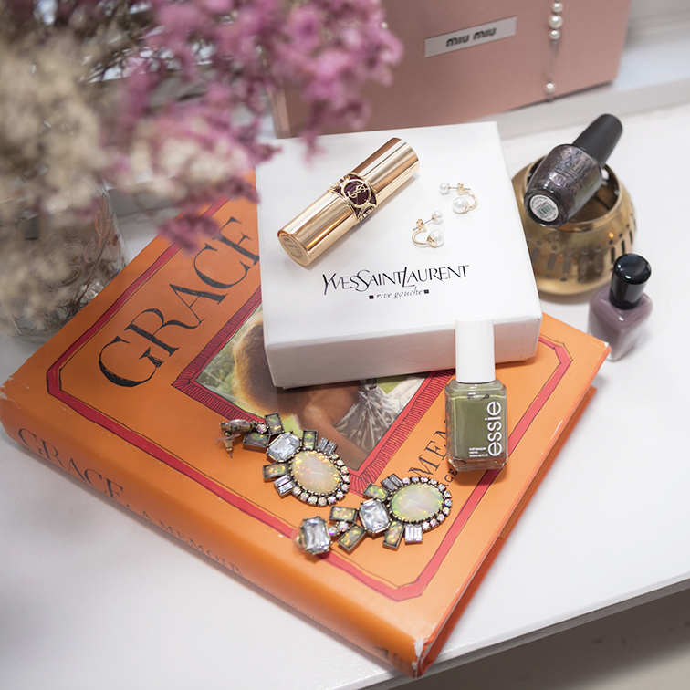 Grace Coddington autobiography, Bauble bar Opal Galactic earrings,YSL rouge volupté in forbidden nurgundy, ASOS double pearl earrings, Essie nail polish in Sew Psyched, Zoya in Normani, OPI in The World is Not Enough