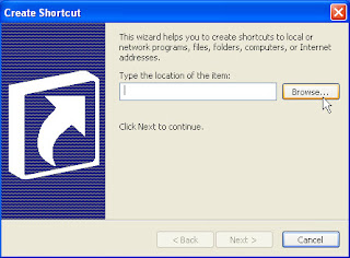 create shortcut dialog box