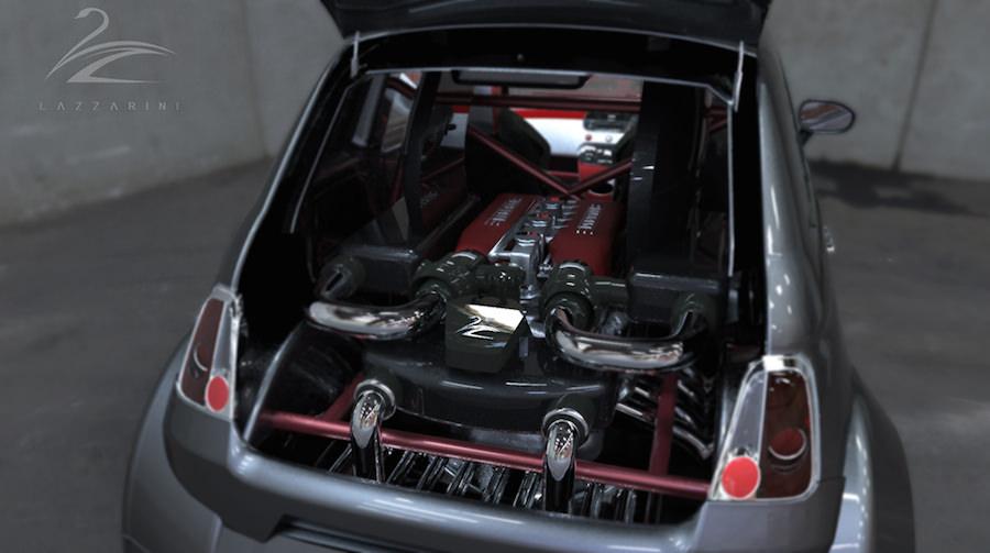 フィアット500にフェラーリV8エンジンを搭載